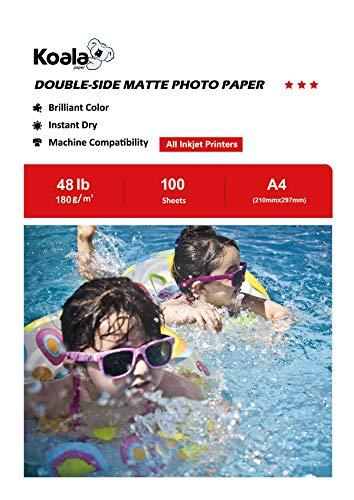 KOALA Papel Fotográfico de Doble cara Mate para Inyección de Tinta A4, 180 g/m², 100 hojas. Adecuado para imprimir Fotos, Portadas, Certificados, Folletos, Volantes, Tarjetas, Calendarios, Artes