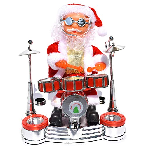 Comtervi Musical Toy Electric Santa Claus Singing Drummer Doll Decoration with Plush LED Toy for Christmas Party