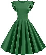 QQ1980s Womens Ruffle Dresses Hepburn Party Dresses 1950s Vintage Elegant Collar Dresses Swing Stretchy Cocktail Evening Dresses