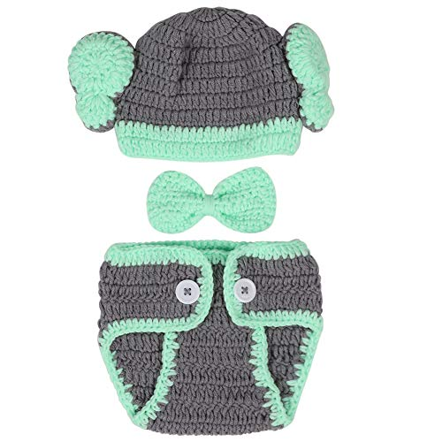 Baby fotografie rekwisieten handgemaakte breien olifanten hoed broek vlinder foto kostuum prop outfit voor pasgeborenen jonge meisjes