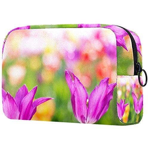 KAMEARI Neceser de cosméticos con tulipanes rosas para jardín de primavera, grande, organizador multifuncional de viaje