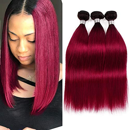 Straight Hair 3 Bundles 1B Red Dark Root Ombre Human Hair Weaves Black to Wine Red Brazilian Remy Hair Bundles Two Tone 1B Burgundy Hair Weave Weft Extension (14 16 18 inches)