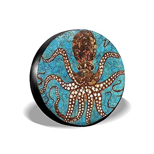MODORSAN Cool Big Octopus - Cubierta Universal para Llantas de Repuesto, Protectores de Llantas Impermeables a Prueba de Polvo para Jeep, remolques, RV, SUV y Camiones, 15 Pulgadas