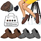 4 Pairs Shoe Covers Reusable Washable Non Slip, Brown& Gray Step In Shoe Protector Thickened Boot Covers For Indoors Home Households With Foot Bottom Anti-slip Mat (6-10 Us Size) (2 Brown+2 Gray)
