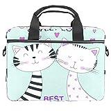 TIZORAX Borsa per computer portatile Sweet Cat Friends Notebook Sleeve con manico 15-15,4 pollici Borsa a tracolla