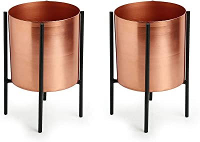 ExclusiveLane Copper Cylindrical Table Planters & Pot for Living Room with Iron Crossed Stands (6.3 Inch, Small, Set of 2)- Indoor Decorative Planter Outdoor Plant Containers Garden Balcony Decoration