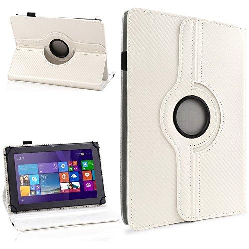 NAUC Schutzhülle für Ihr CSL Panther Tab 10 Hülle Tasche Carbon Cover Tablet Case, Farben:Weiss