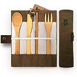 Bambaw Set Posate in bambù | Posate in Legno | Kit Posate Ecologico | Coltello, Forchetta, Cucchiaio e Paille| Posate da Viaggio | Posate Campeggio con Rivestimento portaoggetti | 20cm