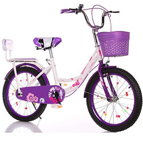 LFFME Bicicletta per Bambini da 16-22 Pollici per Ragazze E Ragazzi di età Compresa tra 6 E 18 Anni con Sedile Posteriore E Doppi Freni,Telaio in Acciaio al Carbonio,D,16