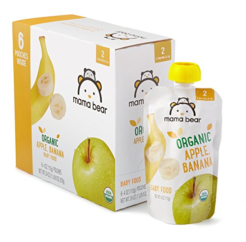 Amazon Brand - Mama Bear Organic Baby Food, Stage 2, Apple Banana, 4 Ounce Pouch (Pack of 12)