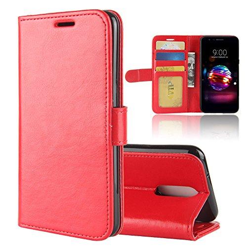 "HERCN Cover LG K11,LG K10 (2018) 5.3"", Premium Slim Flip Case Custodia Portafoglio in PU Pelle con Porta Carte,Funzione Stand,Chiusura Magnetica per LG K11,LG K10 (2018) Smartphone (Rosso)"