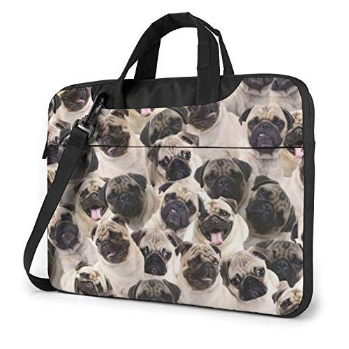 Cute Pug Laptop Bag Messenger Bag Briefcase Satchel Shoulder Crossbody Sling Working Bag 14 Inch