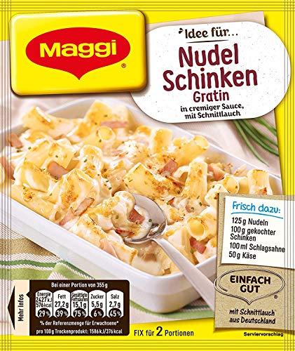 Maggi Fix für Nudel-Schinken Gratin, cremige Sahne-Sauce für Nudelauflauf, ergibt 2 Portionen leckeres Ofengericht, 28 g