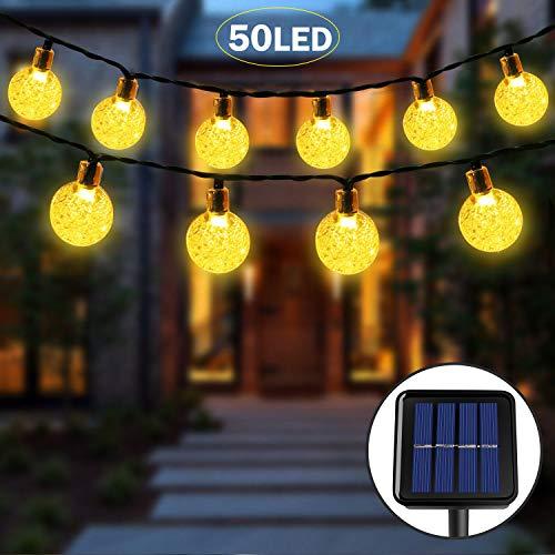 Luce Stringa Solare,50 LED 8 Modalità Luci di Cristallo Decorative a Sfera Decorative in Cristallo per Giardino, Matrimonio, Prato, Cortile, Albero di Natale (Bianco Caldo)