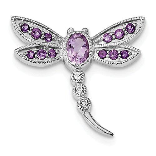 Diamond2deal Plata de Ley 925 Amatista y topacio Blanco libélula Pin y Cadena Slide para Mujer