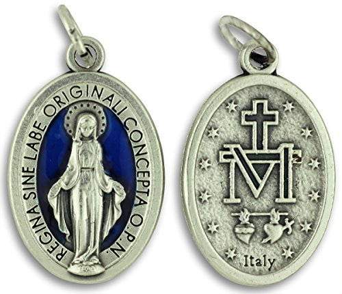 Gifts Catholic, Inc. Bulk Buy 5 Pcs - Miraculous Medal 1 Inch Lot of 5 Medals Blue Enamel Rings Included