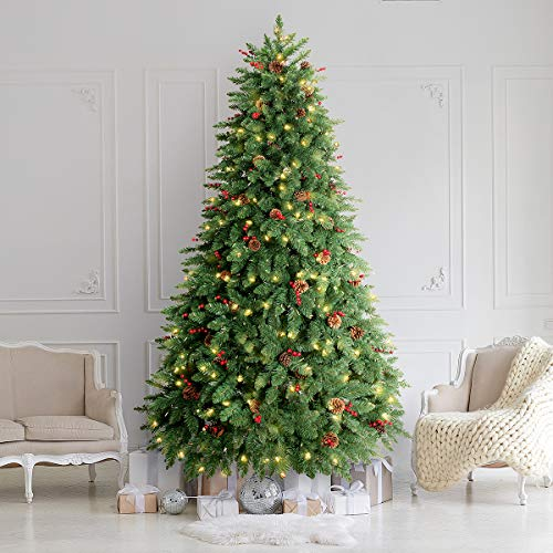 LIFEFAIR 7.5FT Prelit Christmas Tree, Decorated with 600 Clear Lights and Realistic 1520 Thicken Tips