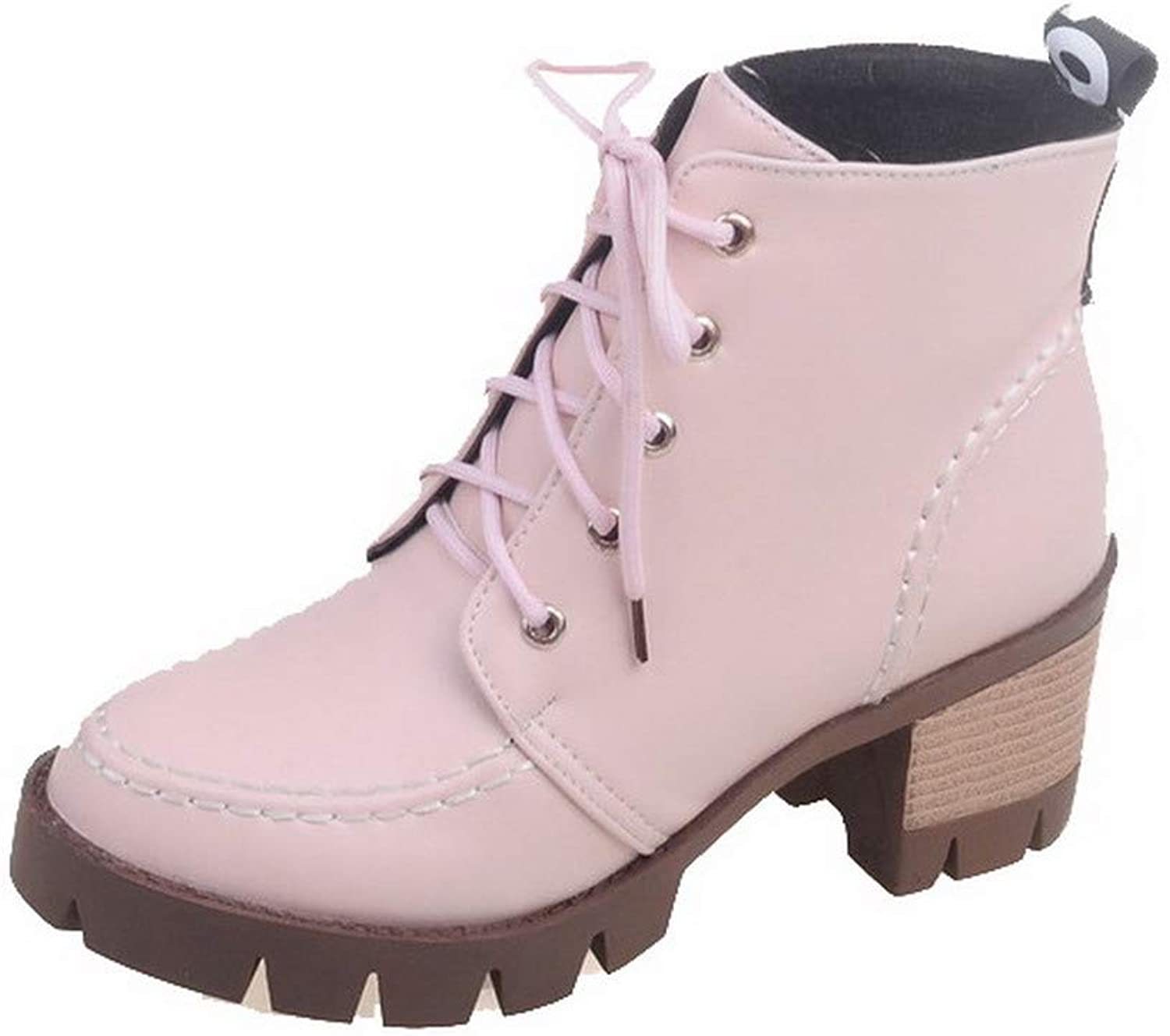 WeiPoot Women's Pu Low-Top Solid Lace-Up Kitten-Heels Boots, EGHXH109208