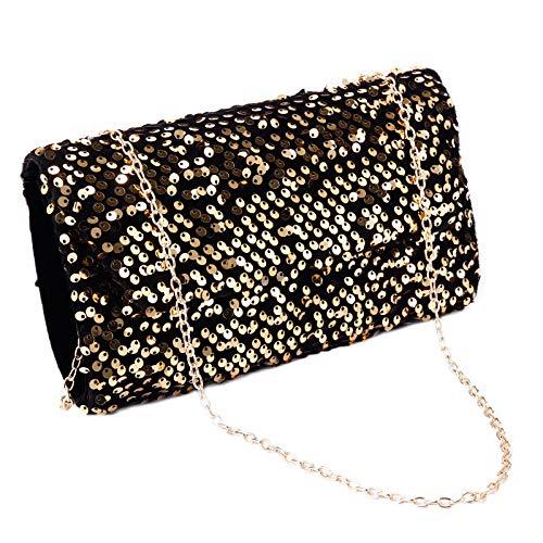 Anladia Dame Abendtasche, Glitzer Pailletten Umhängetasche Samt Handtasche Clutch Tasche mit Kette und Druckknopfverschluss