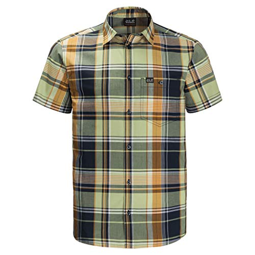 Jack Wolfskin - Camicia da Uomo Little Lake Light Green Checks XL
