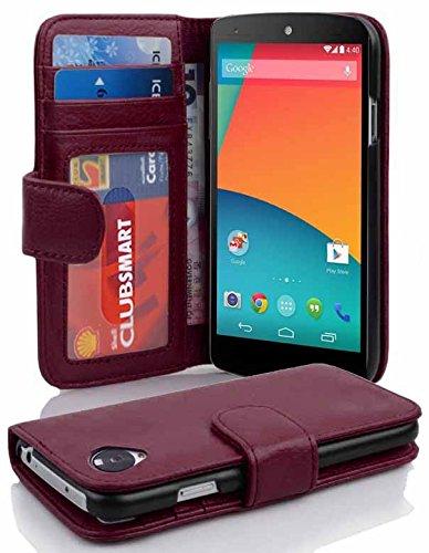 Cadorabo Funda Libro para LG Nexus 5 en Burdeos Violeta - Cubierta Proteccíon con Cierre Magnético e 3 Tarjeteros - Etui Case Cover Carcasa