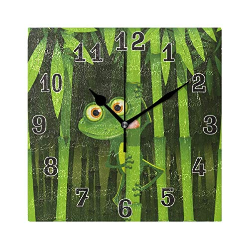 xinfub Frog on Jungle Bamboo Square Acrylic Wall Clock, Silent Non Ticking Art Painting Clock for Kids Girls Children Bedroom Living Room School Home Decor