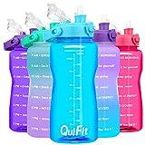 QuiFit 2 Liter Wasserflasche – Klappverschluss mit Strohhalm, motivierende Sport-Flaschen, ideal für Fitnessstudio, Camping, Outdoor, BPA-frei und wiederverwendbar, Himmelblau