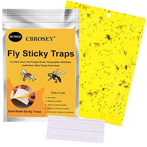 Gelbfalle,Gelbsticker,Fliegenfalle Klebefalle,Gelbtafeln,Gelbstecker,Gelbsticker Insekten,Klebrige Insektenfallen,20 Stück Gelbfalle Fliegenfalle für Schutz von Pflanzen im Innen und Außenbereich