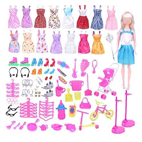 114 piezas de joyería y accesorios de ropa para muñecas juego de ropa para la muñeca de Barbie de alimentación con los vestidos ocasionales Calzado Bolsos Bandas de la pulsera del collar de la corona