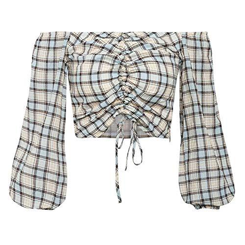 Off Shoulder Vrouwen Blouse Trekkoord Plaid Puff Sleeve top Shirt Herfst Vrouwelijke Blouses Nieuw