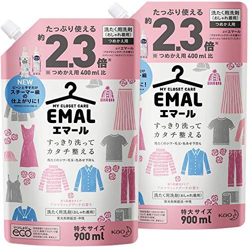 【Amazon.co.jp 限定】【まとめ買い】エマール(EMAL)洗濯洗剤 液体 アロマティックブーケの香り 詰め替え900ml*2個