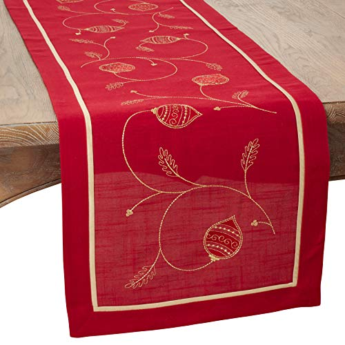 SARO LIFESTYLE 71851.R1670B Embroidered Ornament Design Holiday Table Runner, red