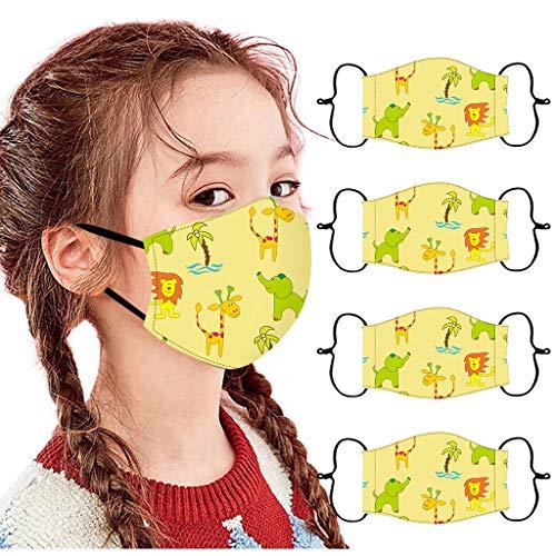Eaylis 4 Stück Kinder Face Mask Einweg 3-lagig Atmungsaktiv Face Cover, Radfahren, Outdoor Anti-Staub Bandana Loop Cartoon Druck Face Halstuch für Jungen und Mädchen für Laufen