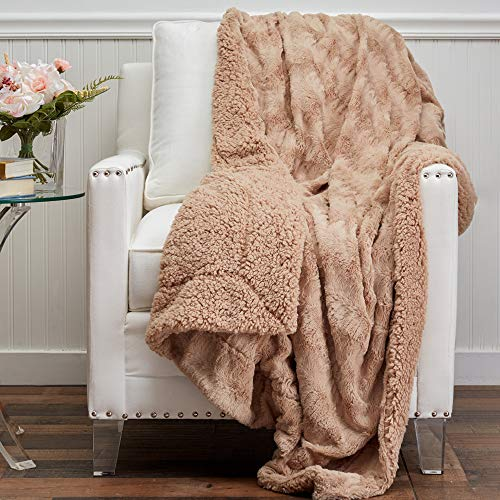 The Connecticut Home Company Soft Faux Fur with Sherpa Bed Throw Blanket, Many Colors, Fluffy Large Luxury Reversible Blankets, Fuzzy Washable Throws for Couch, Beds, Home Bedroom Decor, 65x50, Beige