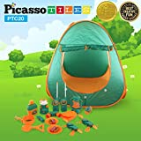 PicassoTiles PTC20 20 Piece Camping Gear Tools Adventure Set including Walkie Talkie Camping