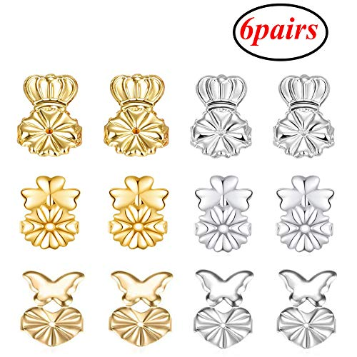 6 Pairs Magic Earring Lifters Adjustable Earring Lifts Earring Backs Silver and Gold(Crown-Shaped、Butterfly、Heart Style)