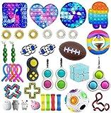 Ysimee Fidget Toy Set 20-42 Packs, Ketten, Antistress Spielzeug mit Pop it, Squeeze a Bean, Stressballs, Tangle Fidget zur Linderung von Angstzuständen für Kinder und Erwachsene(zufällige Farbe)