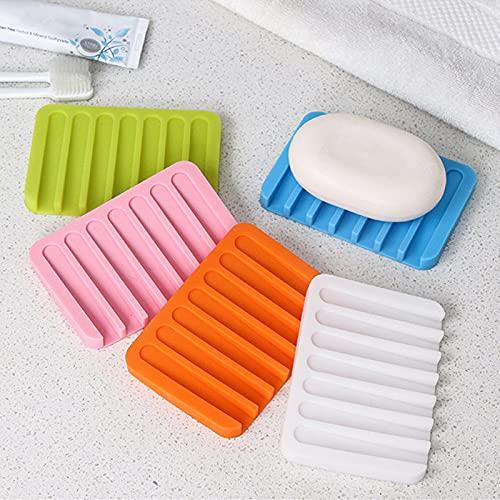 BSDIHRIWEJFHSIE Antideslizante Mejoras para el hogar Silicona Accesorios de baño Flexibles Accesorios de baño Bandeja Caja de jabón Platos de jabón Soporte de Placa-Naranja, China