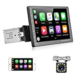 """Android Single Din Car Stereo GPS Navigation Head Unit 7"""" Touch Screen FM Bluetooth Wireless Radio Receivers Support Mirror Link for Android iOS Phone + Backup Camera"""
