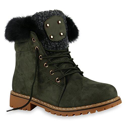 Warm Gefütterte Damen Stiefeletten Fell Outdoor Boots Winter Schuhe 128715 Dunkelgrün 40 Flandell