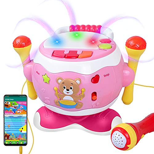 Rabing Baby Musical Drum Toys, 5-in-1 Toddler Musical Instruments Toy with Microphone & Lights, Kids Drum Set for Boys Girls 0-3 Years Old Birthday Gift, Early Educational Learning Piano Keyboard Toy