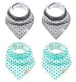 Baby Dreieckstücher 4 Stück Halstuch süße unisex aus Baumwolle mit verstellbaren Druckknöpfen Spucktuch Lätzchen für Kleinkinder Jungen und Mädchen (Punkte Set)