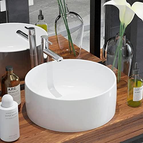 vidaXL Lavabo Moderno Redondo de Cerámica Blanco Lavamanos Aseo Cuarto de Baño
