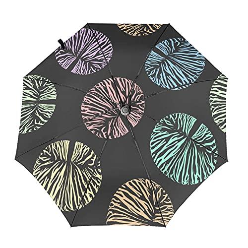 Diseño automático ligero compacto portátil del paraguas de las rayas coloreadas del círculo y alta resistencia al viento