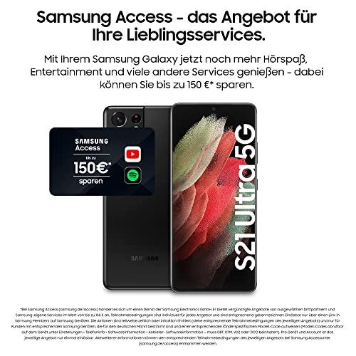 Samsung Galaxy S21 Ultra 5G, Android Smartphone ohne Vertrag, Quad-Kamera, Infinity-O Display, 128 GB Speicher, leistungsstarker Akku, Phantom Black