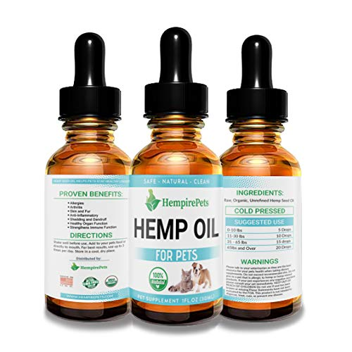 Hemp Oil for Dogs and Cats - 100 % Organic Natural Calming Drops - Anxiety Support - Hip and Joint Health - Pain Relief Stress Reducer for Pets - Omega 3 & 6