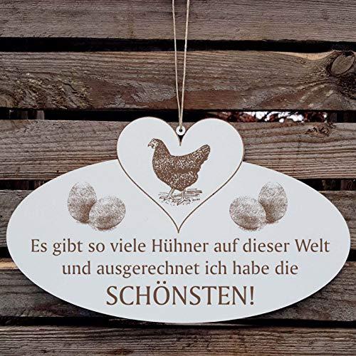 DIE SCHÖNSTEN HÜHNER DER WELT Schild mit Huhn 05 Ei und Herz ca. 20 x 12 cm