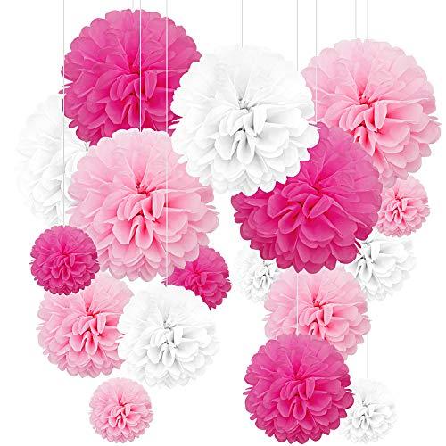 24 Piezas Pompones Rosa,Pompom flores,Pompones de papel, flores de papel, pompon papel seda rosa,pompones de papel decoracion, pompones decoracion fiesta para festivales, Cumpleaños y Boda