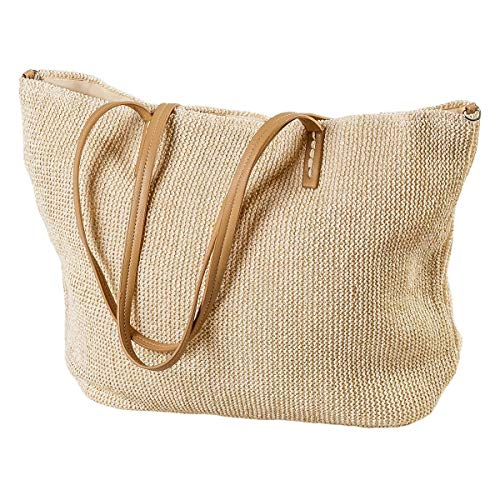 LaFiore24 Einkaufstasche Damen Shopper Glitzer-Effekt Grosse Strandtasche Badetasche Schultertasche Gold