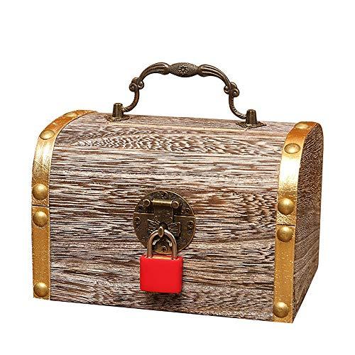 ZAKRLYB Hucha para niños con cúpulo de Cobre Retro Código de código Digital Sycamore Caja de Madera Cambio Banco Piggy Bank Treasure Box Banknote Box Treasure Crafts Regalos Ahorro de Dinero